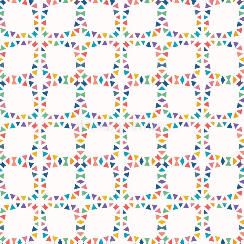 Geometrische driehoek verwijderde vormen Vectorpatroon naadloze achtergrond Handdocument knipsel matisse stijl Collagedekbed stock illustratie