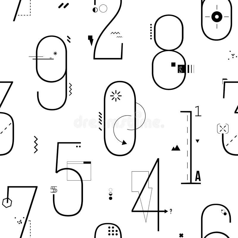 Geometrische Dunne Lijn Art Flat Style Numbers Background royalty-vrije illustratie