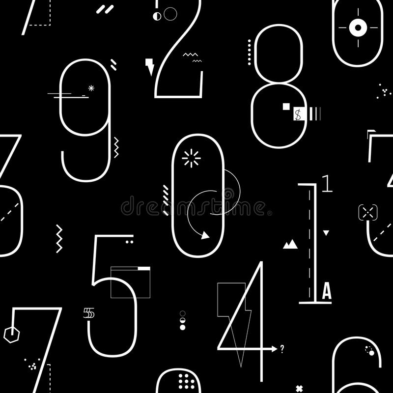 Geometrische Dunne Lijn Art Flat Style Numbers Background stock illustratie