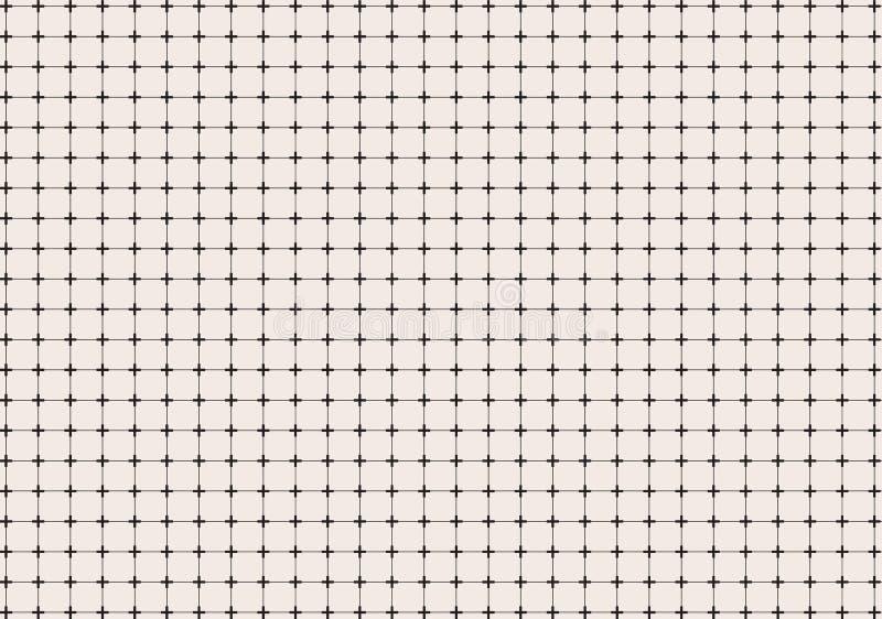 Geometrische dwars of plus met het patroonachtergrond van het lijnennet en t stock illustratie