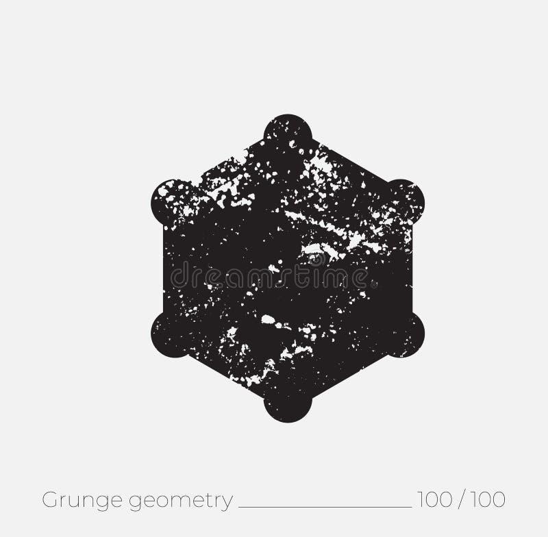Geometrische eenvoudige vorm in grunge retro stijl stock illustratie