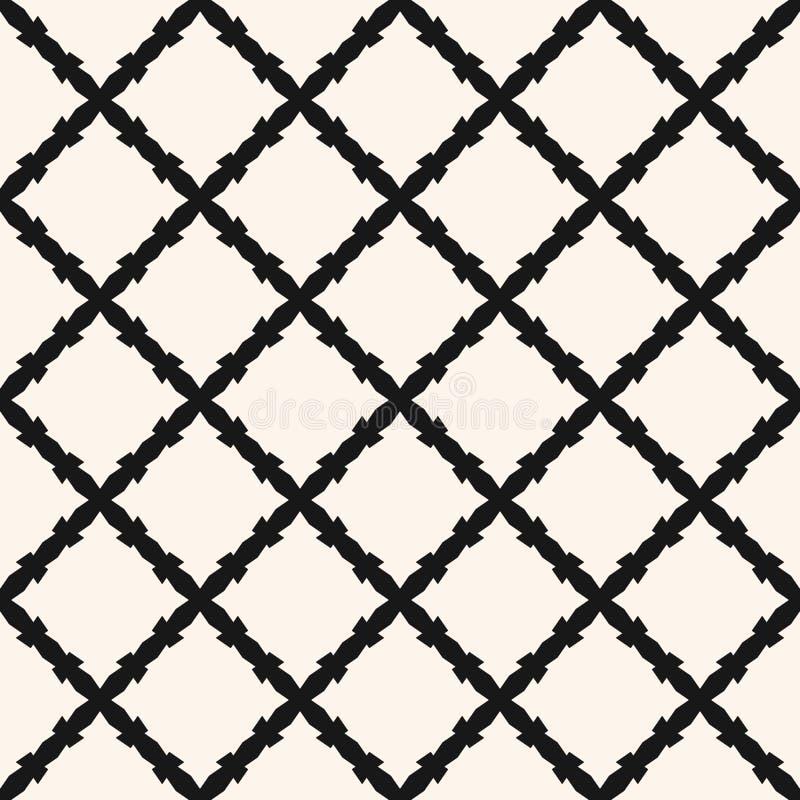 Geometrische einfarbige Beschaffenheit der Zusammenfassung mit Andreaskreuzlinien, Rauten, Masche, Gitter, Grill, barbwire vektor abbildung