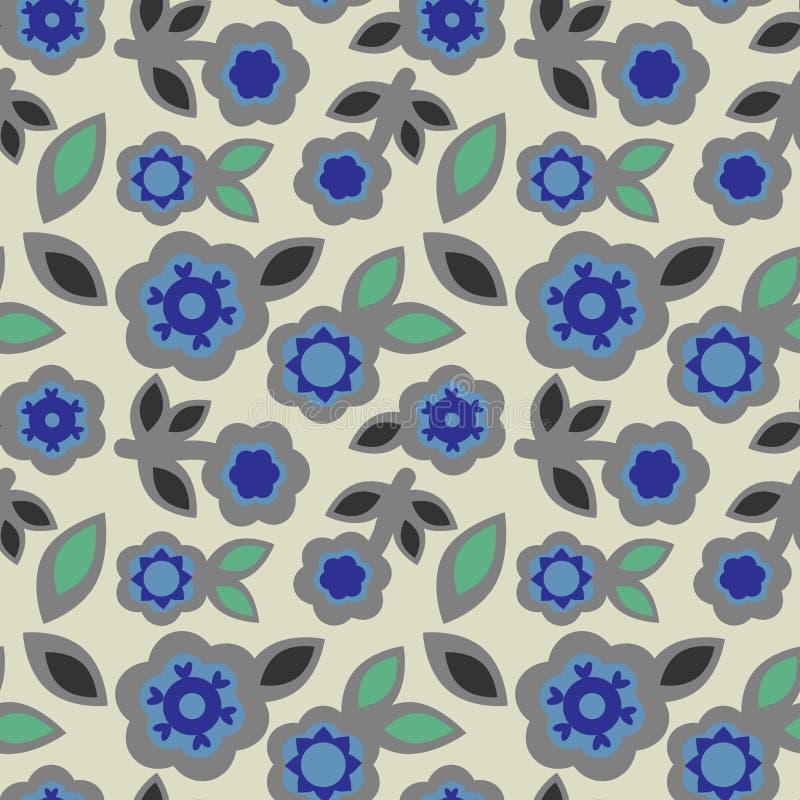 Geometrische Elemente der nahtlosen Blumengrauen Blau-Blumen der musterzusammenfassung verlässt japanische Art, Gewebe stock abbildung