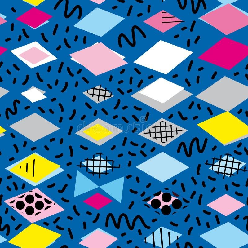 Geometrische Elemente Memphis Postmodern Retro-Modeart 80-90s asymetrisches nahtloses Muster des Formen Rautendreiecks gelbes gra stock abbildung