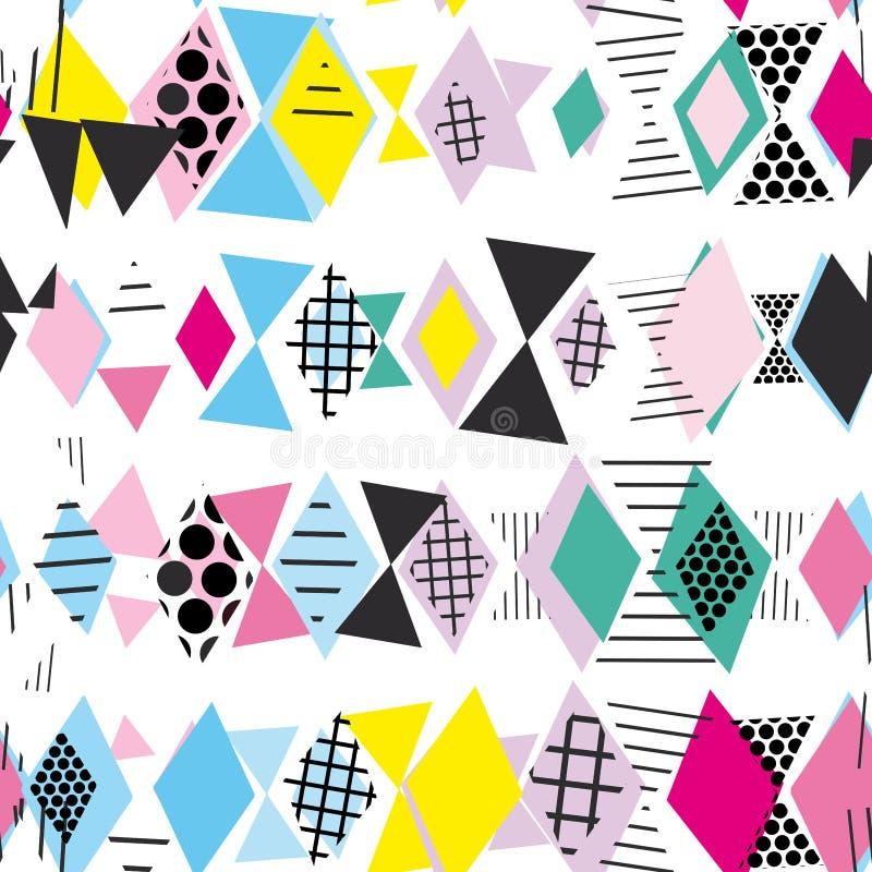 Geometrische Elemente Memphis Postmodern Retro-Modeart 80-90s nahtloses Muster des asymetrischen Formen Rauten-Dreiecks Gelbe Que vektor abbildung