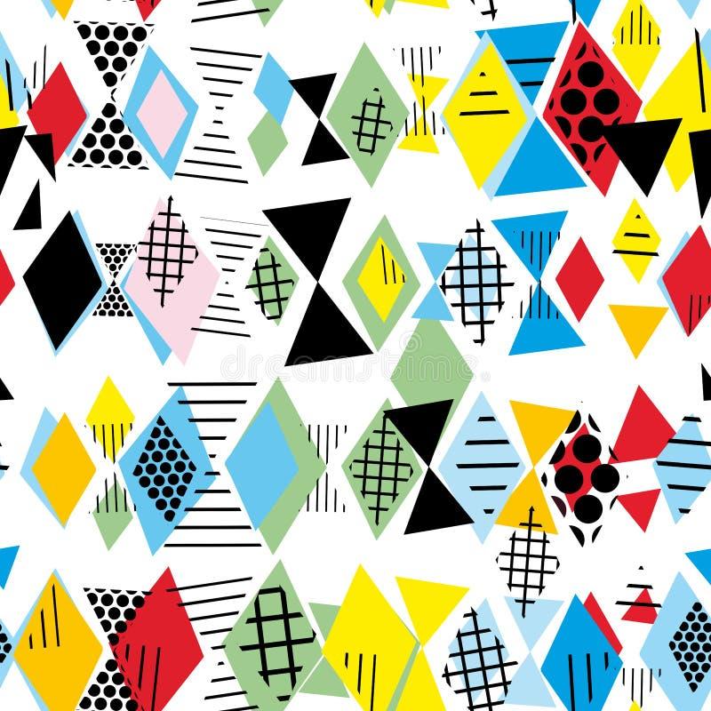 Geometrische Elemente Memphis Postmodern Retro-Modeart 80-90s nahtloses Muster des asymetrischen Formen Rauten-Dreiecks Gelbe Que lizenzfreie abbildung