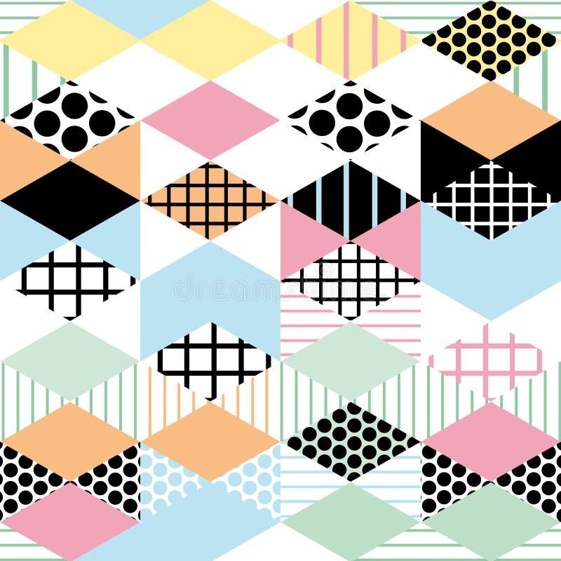 Geometrische Elemente Memphis Postmodern Retro-Modeart 80-90s nahtloses Muster des asymetrischen Formen Rautendreieck-Kreises YE stock abbildung