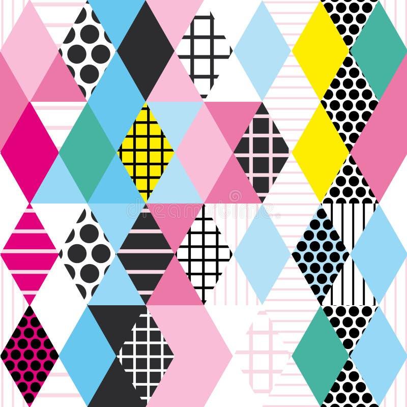 Geometrische Elemente Memphis Postmodern Retro-Modeart 80-90s nahtloses Muster des asymetrischen Formen Rautendreieck-Kreises YE lizenzfreie abbildung