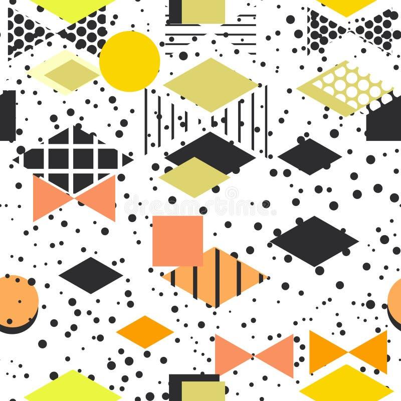 Geometrische Elemente Memphis Postmodern Retro-Modeart 80-90s Rauten-Dreiecks Formen der Beschaffenheit nahtloses Muster YE des a stock abbildung