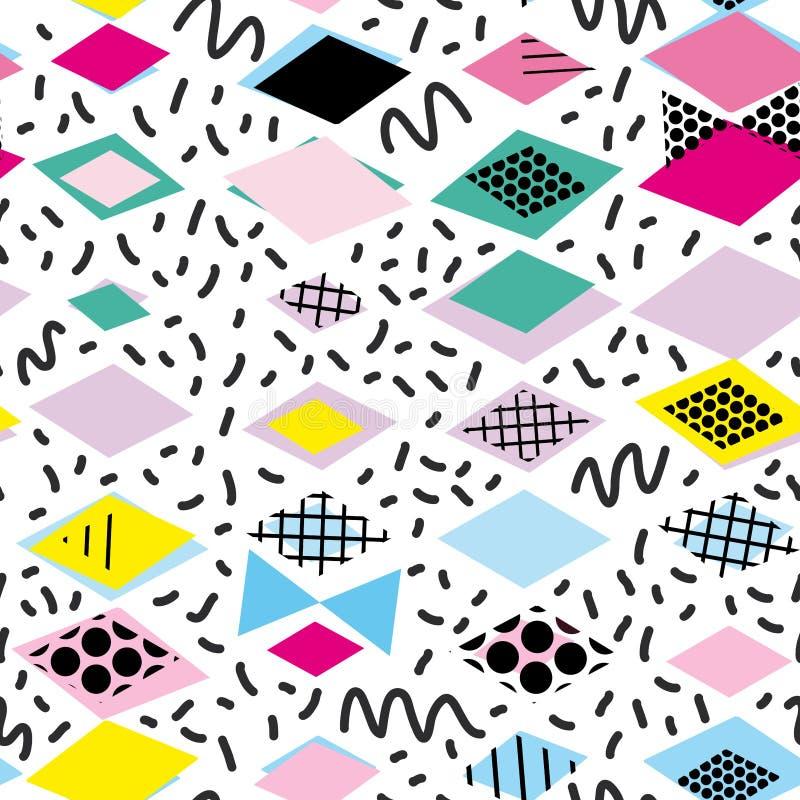 Geometrische Elemente Memphis Postmodern Retro-Modeart 80-90s Rauten-Dreiecks Formen der Beschaffenheit nahtloses Muster YE des a vektor abbildung