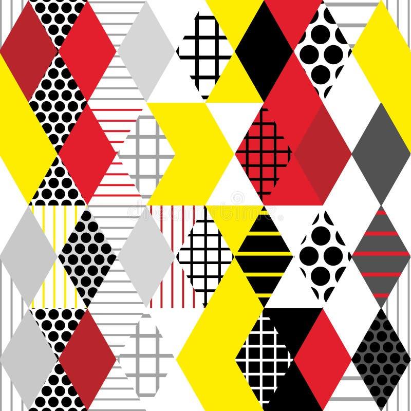 Geometrische Elemente Memphis Postmodern Retro-Modeart 80-90s Rautendreieck-Kreises Formen der Beschaffenheit nahtloser Klaps des stock abbildung