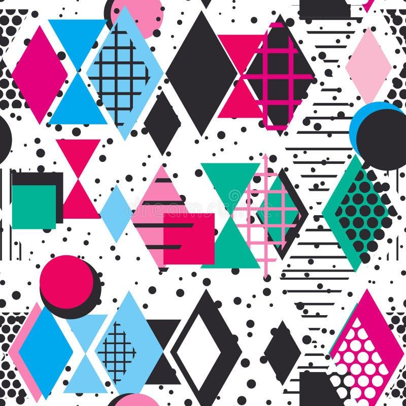 Geometrische Elemente Memphis Postmodern Retro-Modeart 80-90s Rautendreiecks Formen der Beschaffenheit nahtlose Musterquerstation vektor abbildung