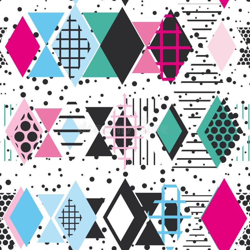 Geometrische Elemente Memphis Postmodern Retro-Modeart 80-90s Rautendreiecks Formen der Beschaffenheit nahtlose Musterquerstation stock abbildung