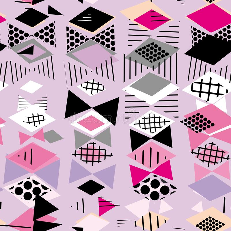 Geometrische Elemente Memphis Postmodern Retro-Modeart 80-90s weißes Grau des asymetrischen Musters des Formen Rautendreiecks nah stock abbildung