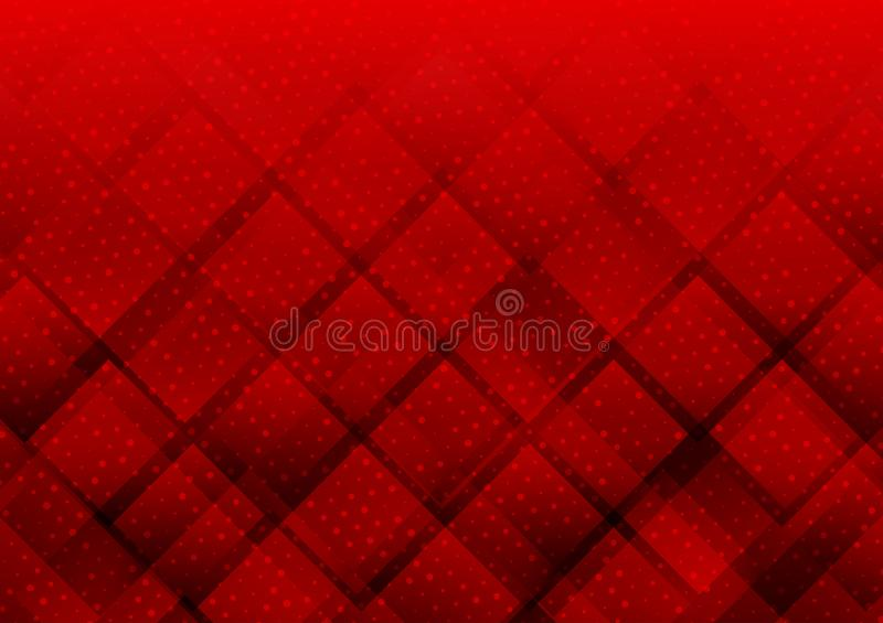 Geometrische elementen rode kleur met punten abstracte vectorachtergrond stock illustratie