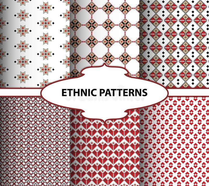 Geometrische etnische patronen Borduurwerkstijl stock illustratie
