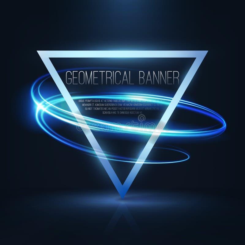Geometrische Fahnen mit Neonlichtern stockfoto