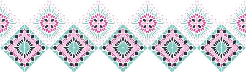 Geometrische Folkloreverzierung Ikat Stammes- ethnische Vektorbeschaffenheit Nahtloses gestreiftes Muster in der aztekischen Art lizenzfreie abbildung
