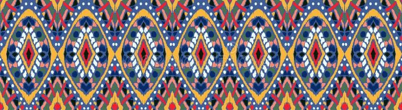 Geometrische Folkloreverzierung Ikat Stammes- ethnische Vektorbeschaffenheit Nahtloses gestreiftes Muster in der aztekischen Art vektor abbildung