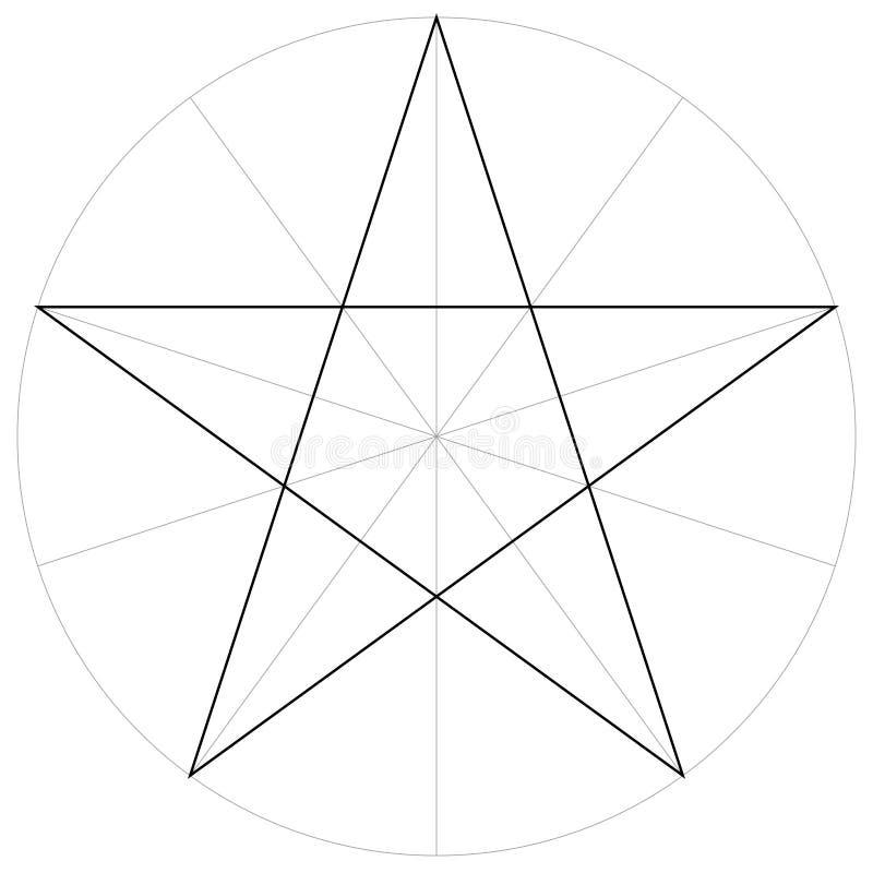 Geometrische Form der korrekten Formformschablone des gezeigten Sternes des Pentagram fünf, Vektor, der den Pentagramsektor, Scha vektor abbildung