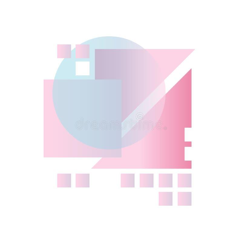 Geometrische Formen der abstrakten Steigung in den blauen, rosa und purpurroten Farben, buntes Design für Aufkleber, Darstellung, lizenzfreie abbildung