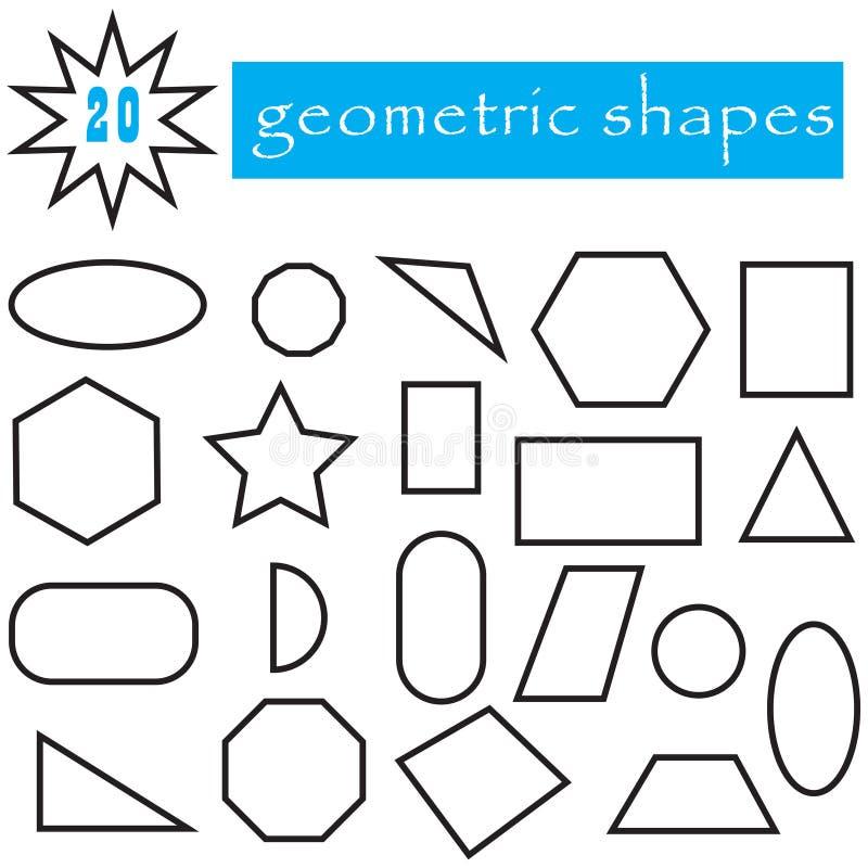 geometrische formen eingestellt von 20 ikonen popul re flache geometrische zahlen sammlung. Black Bedroom Furniture Sets. Home Design Ideas