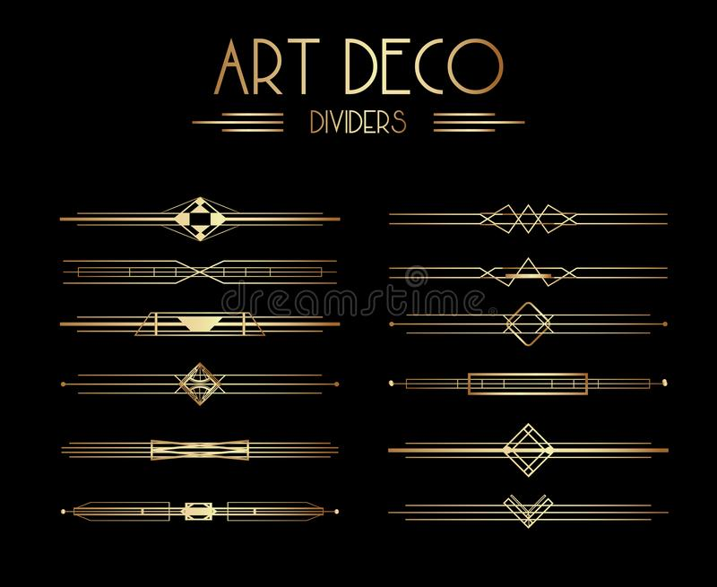 Geometrische Gatsby Art Deco Dividers of Decoratieelementen stock illustratie