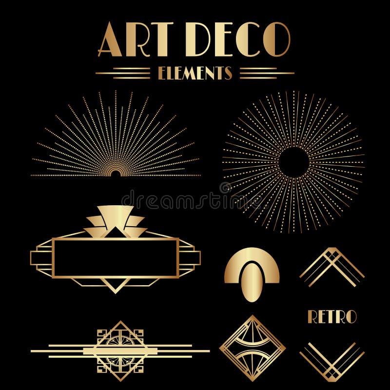 Geometrische Gatsby Art Deco Ornamente und dekorative Elemente lizenzfreie abbildung