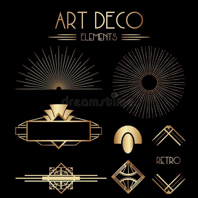 Geometrische Gatsby Art Deco Ornaments en Decoratieve Elementen stock illustratie