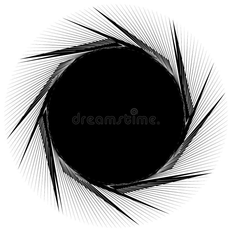 Geometrische gespannen spiraalvormige vorm Werveling, draaikolk met geweven concent stock illustratie