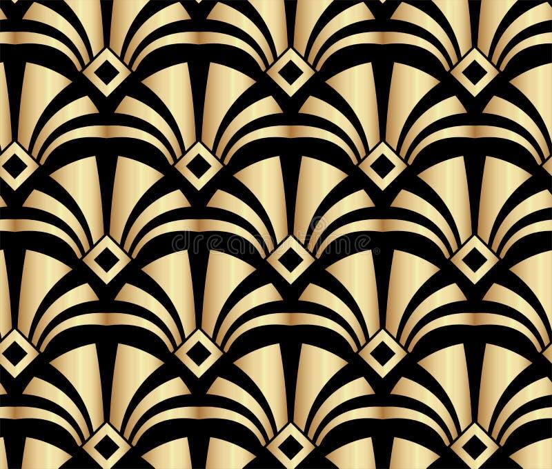 Geometrische Gouden Gatsby Art Deco Pattern Background Design stock illustratie
