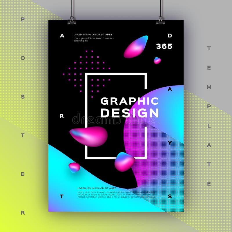 Geometrische gradiëntachtergrond, de In grafische grootte van de ontwerpaffiche A4 Vloeibare vormen, samenstelling van Gradiënt d vector illustratie