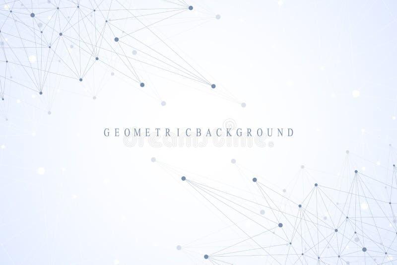 Geometrische grafische mededeling als achtergrond Globale Netwerkverbindingen Wireframe complex met samenstellingen perspectief vector illustratie