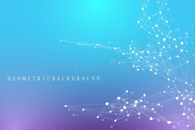Geometrische grafische mededeling als achtergrond Globale Netwerkverbindingen Wireframe complex met samenstellingen perspectief stock illustratie