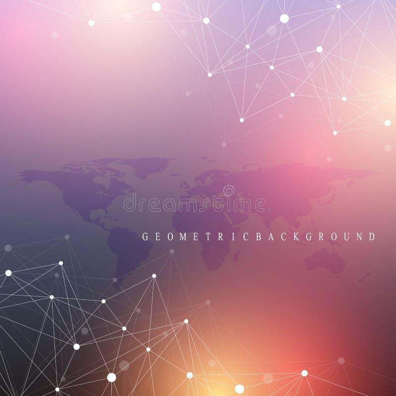 Geometrische grafische mededeling als achtergrond Grote gegevens complex met Politieke Wereldkaart Deeltjessamenstellingen Netwer vector illustratie