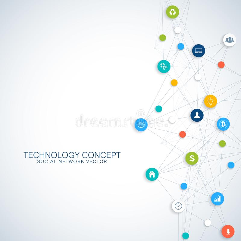 Geometrische grafische mededeling als achtergrond Wolk gegevensverwerking en het globale conceptontwerp van netwerkverbindingen G stock illustratie
