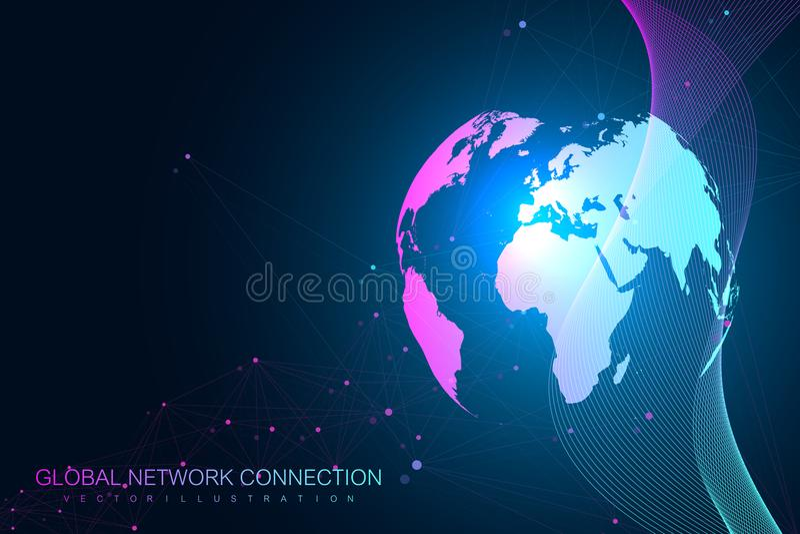 Geometrische grafische mededeling als achtergrond Wolk gegevensverwerking en het globale conceptontwerp van netwerkverbindingen G vector illustratie