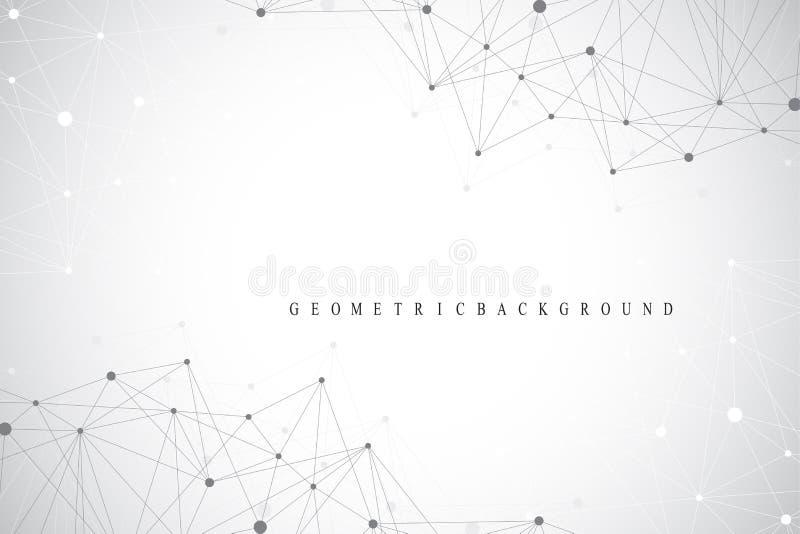 Geometrische grafische molecule en mededeling als achtergrond Grote gegevens complex met samenstellingen Lijnenvlecht, minimale s stock illustratie