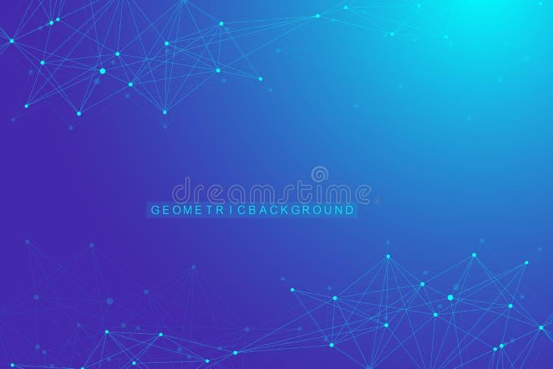 Geometrische grafische molecule en mededeling als achtergrond Verbonden lijnen met punten Minimalism chaotische illustratie stock illustratie