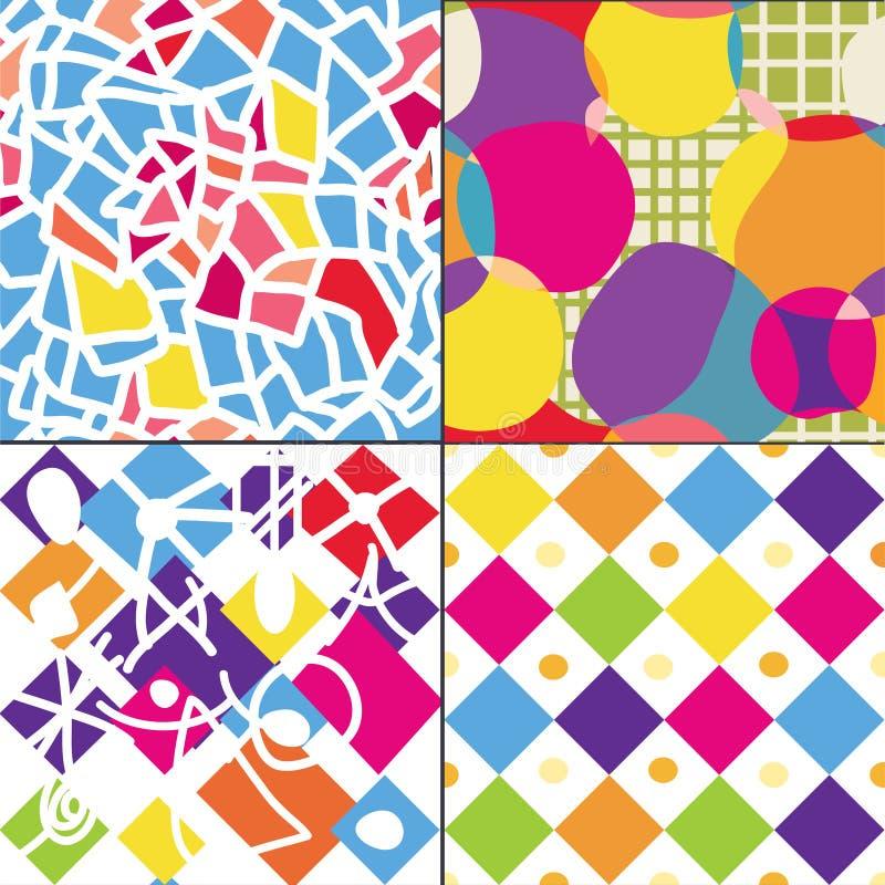 Geometrische grappige naadloze patronen stock illustratie