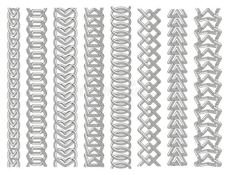 Geometrische grensreeks Kettingen van onmogelijke vormen worden gemaakt die Lijnart. royalty-vrije illustratie