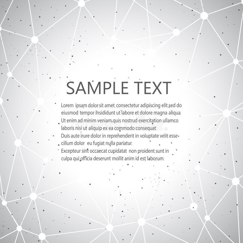 Geometrische grijze achtergrond Molecule en Communicatie Achtergrond Grafische achtergrond voor uw ontwerp en uw tekst royalty-vrije illustratie