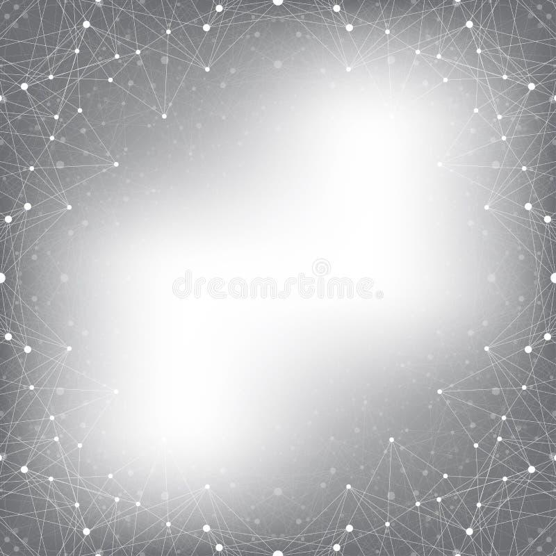 Geometrische grijze molecule en mededeling als achtergrond Verbonden lijn met punten, illustratie royalty-vrije illustratie