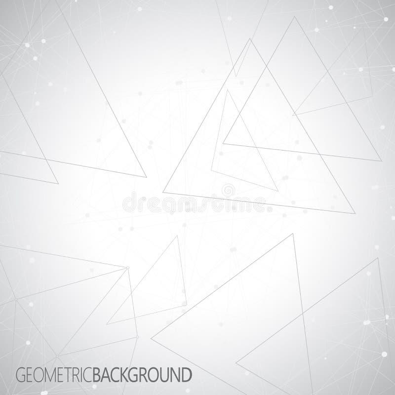 Geometrische grijze Molecule en mededeling als achtergrond voor uw ontwerp en uw tekst vector illustratie