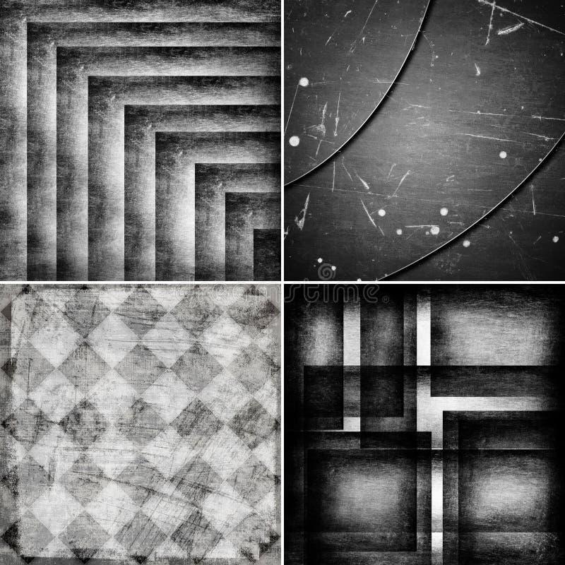 Geometrische grunge zwart-witte achtergronden stock illustratie