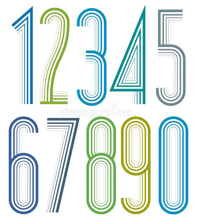 Geometrische heldere elegante gestreepte aantallen vector illustratie