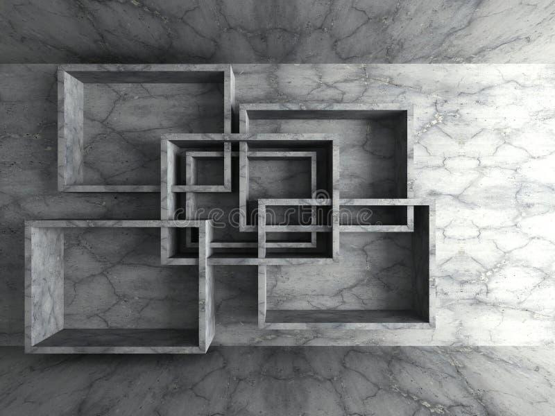 Geometrische het ontwerpachtergrond van de architectuur concrete muur royalty-vrije illustratie