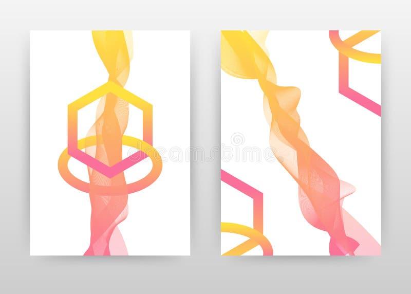Geometrische hexagon vorm met roze geel het golven lijnenontwerp voor jaarverslag, brochure, vlieger, affiche Gele gevoerde golf vector illustratie