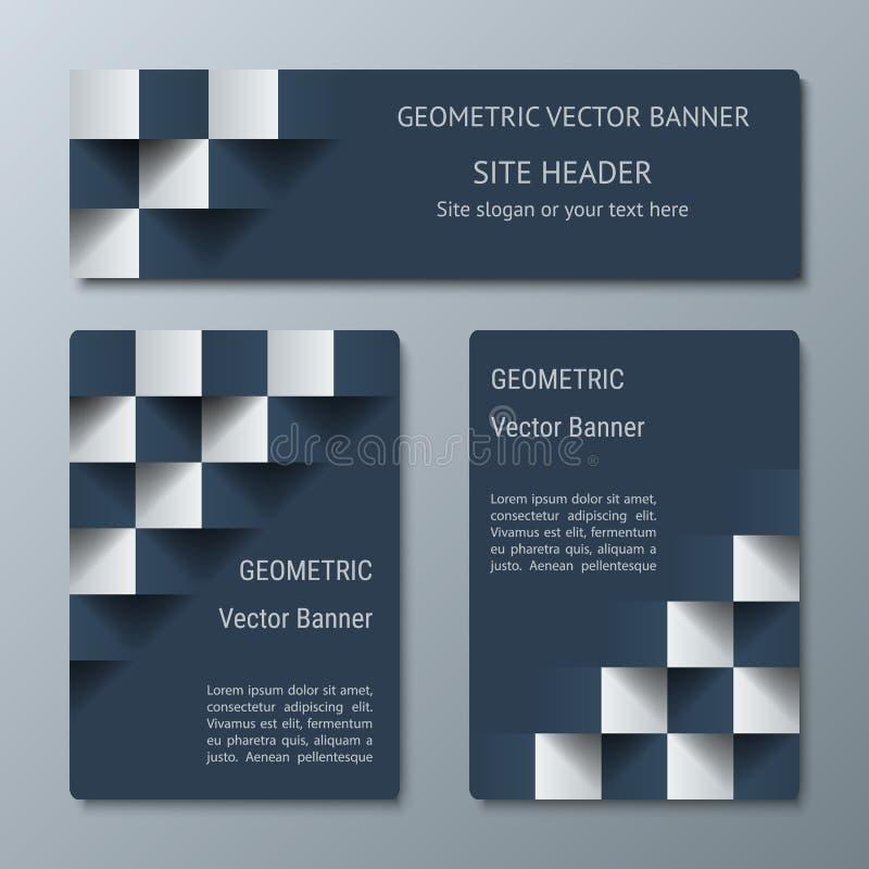 Geometrische horizontale en verticale banners van variërende breedte met het 3D effect voor zaken websit royalty-vrije illustratie