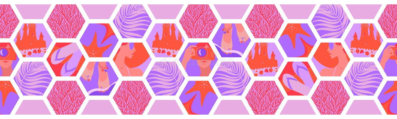 Geometrische horizontale naadloze grens met hexagon vormen van de de zomertijd Het vector tropische overzees ontspant koraal, roz vector illustratie